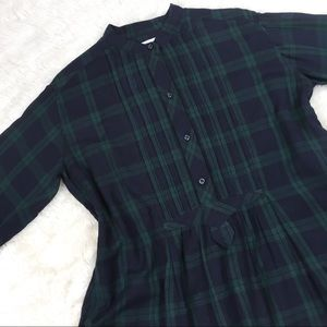 Isabel Marant Etoile Green Navy Plaid Flannel Top